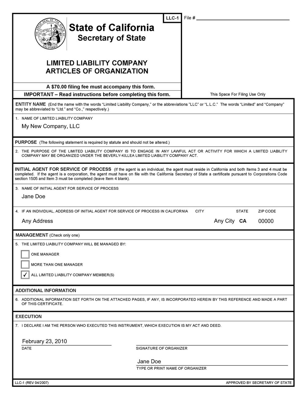 Fictitious Business Name Statement Form California