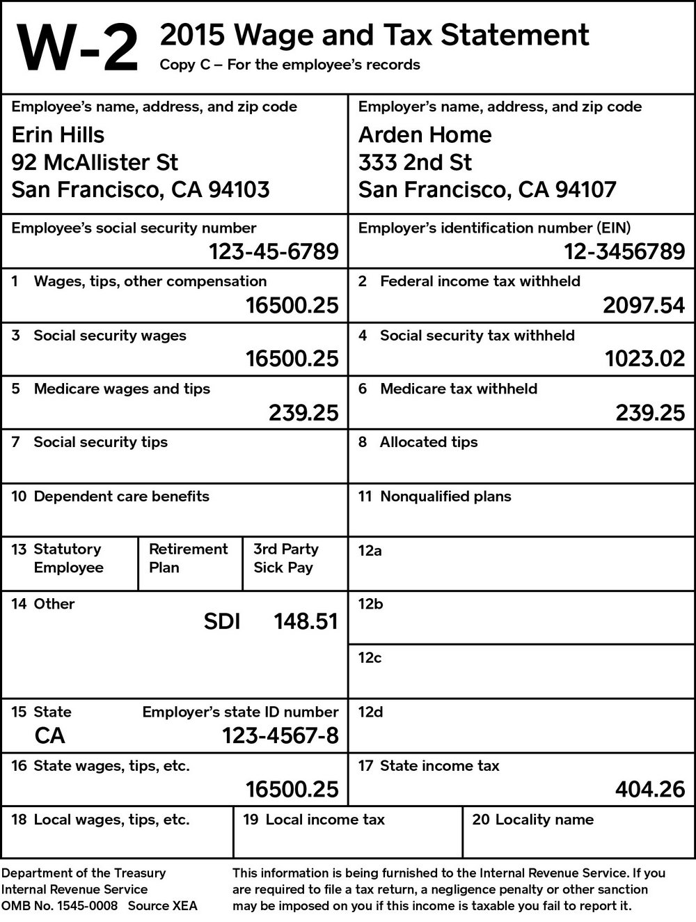 Fill Out W2 Form Online Free