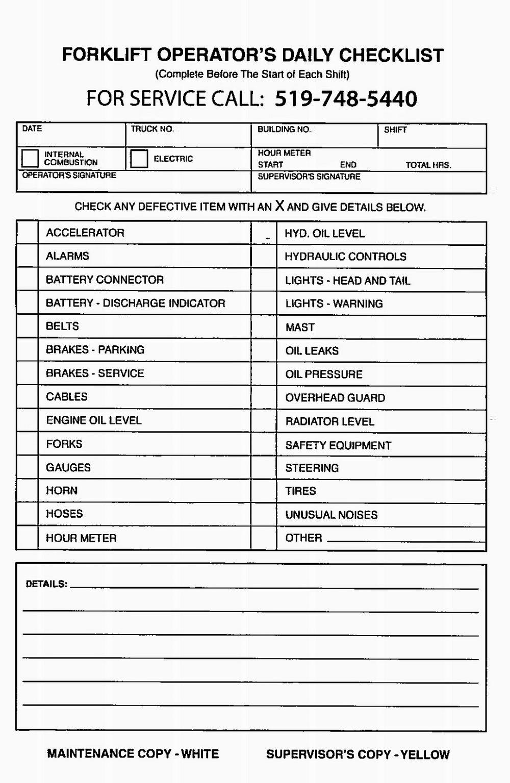 Forklift Checklist Form