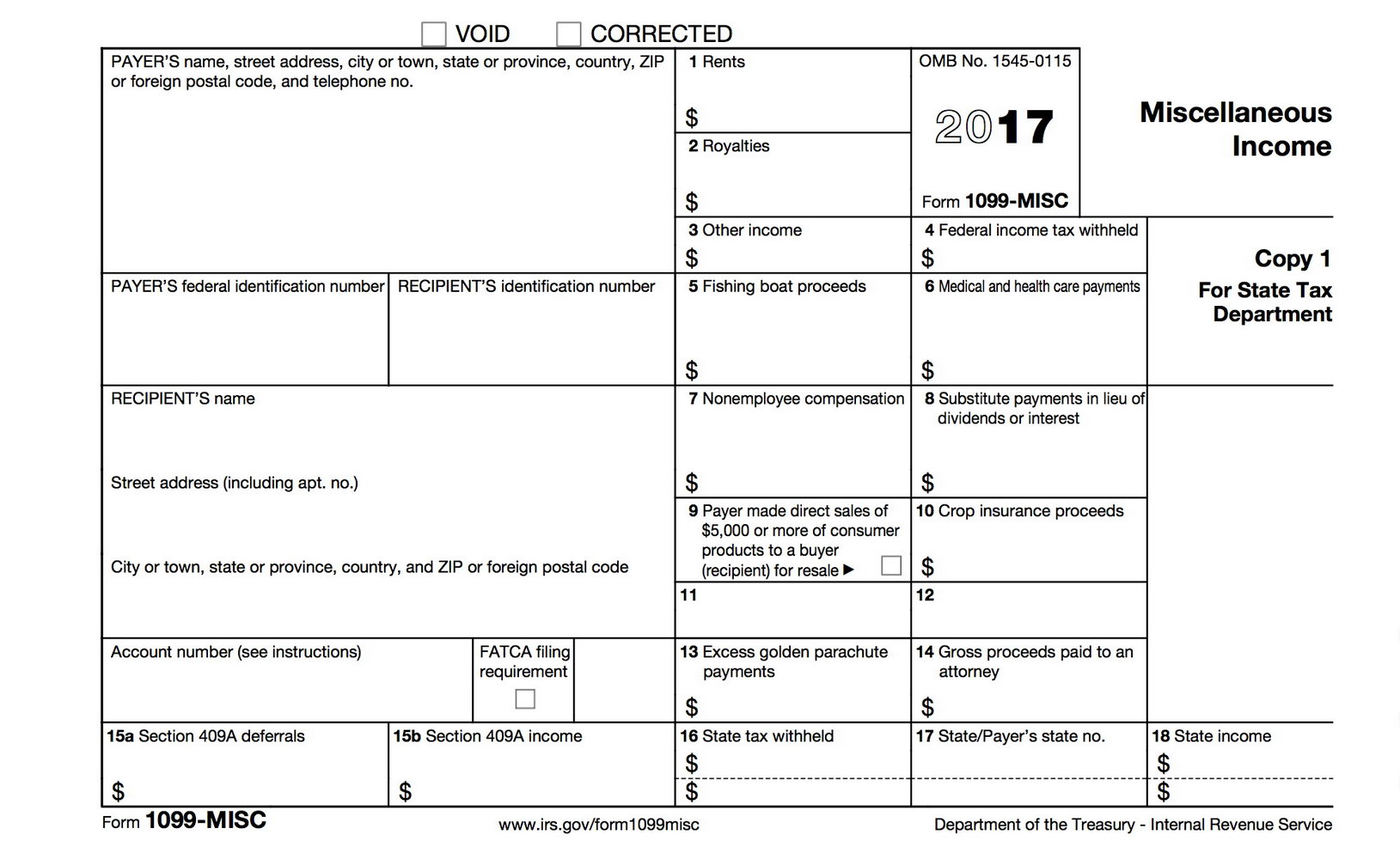 Forms 1099 Misc Instructions 2017