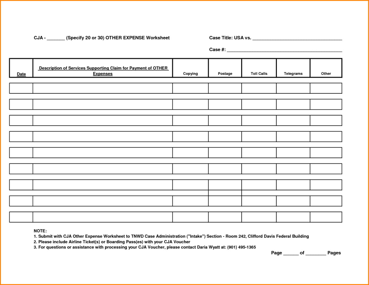 Free Expense Tracking Worksheet