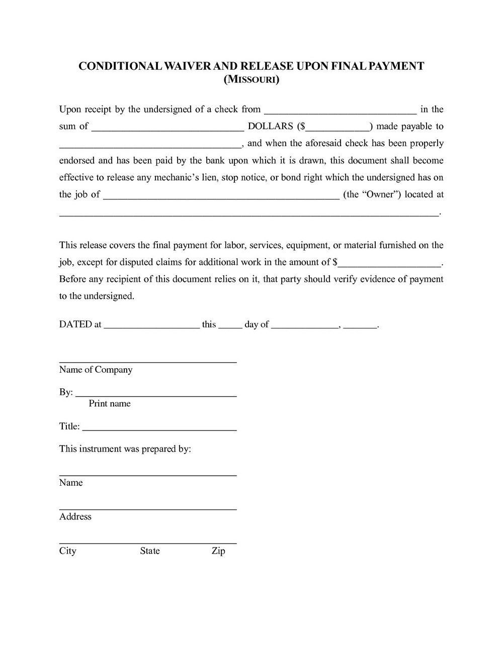 photograph regarding Printable Lien Form known as Absolutely free Lien Waiver Type Missouri - Sorts #MTE1MDU Resume