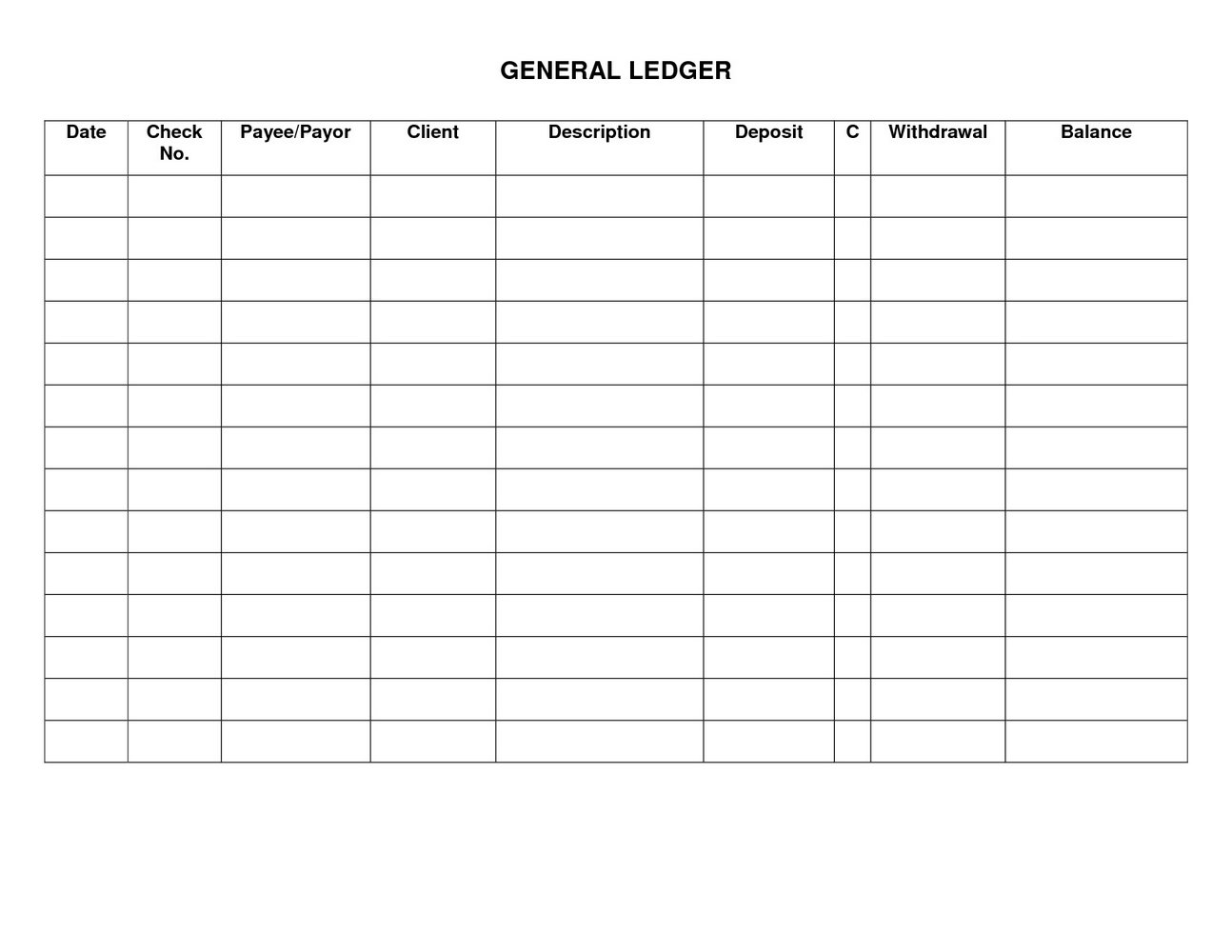 Free Printable Blank Ledger Forms