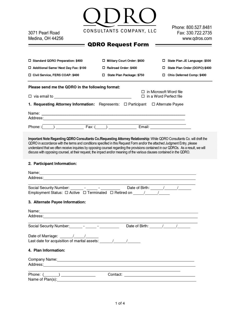 Free Qualified Domestic Relations Order Form