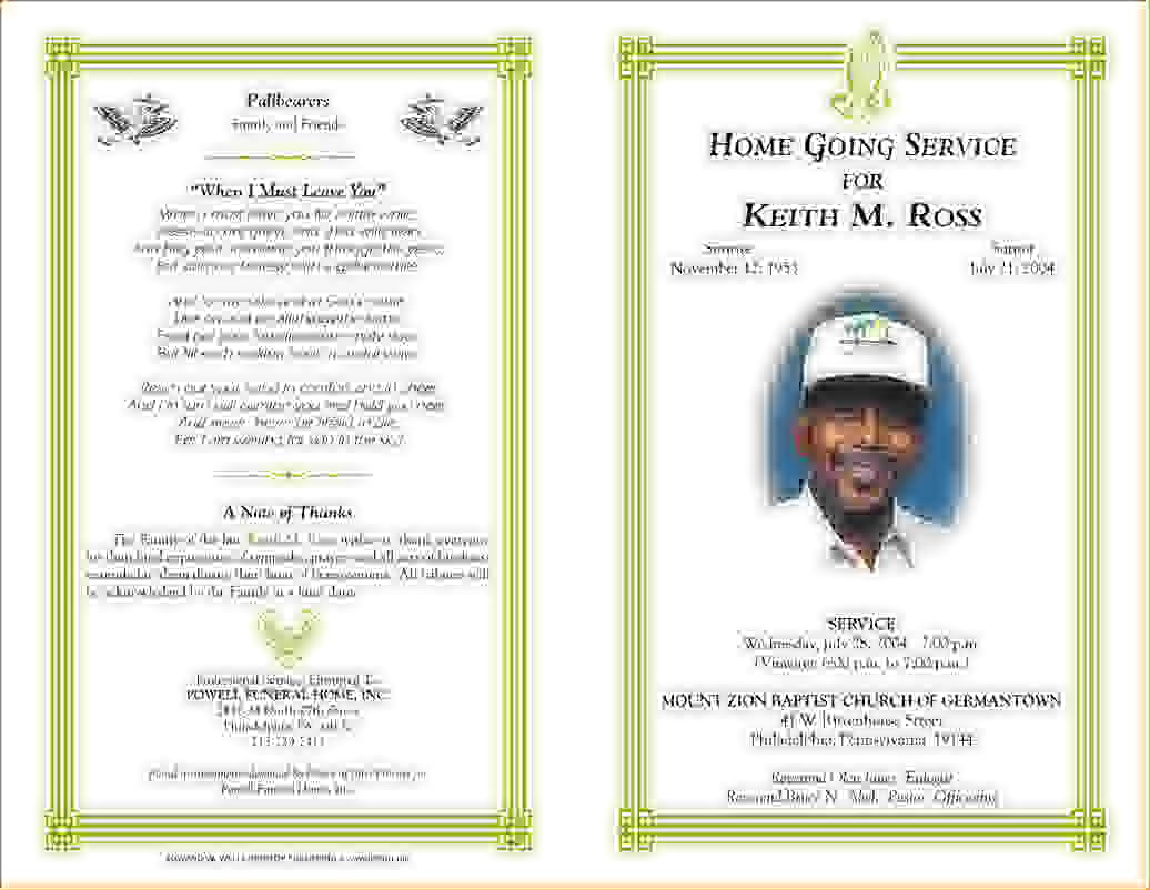 Funeral Program Template For Microsoft Word