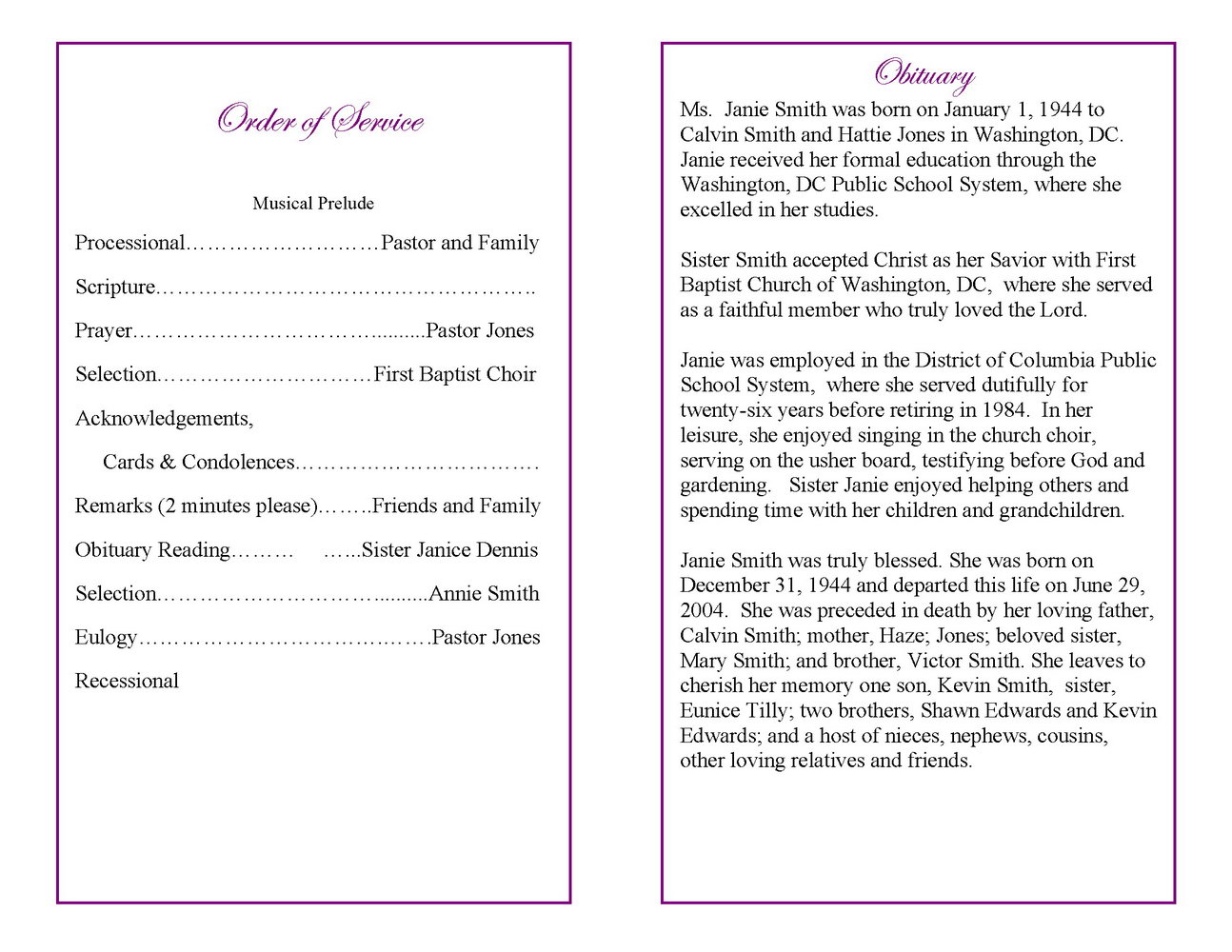 Funeral Program Template South Africa