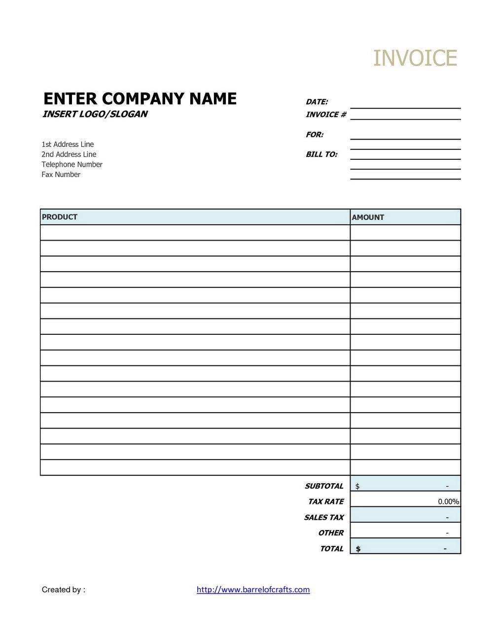 Generic Invoice Form