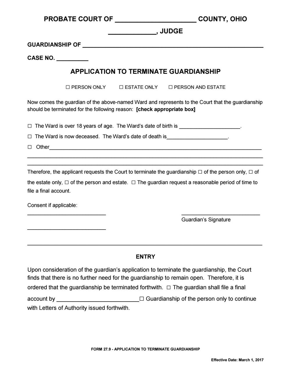 Guardianship Forms Ohio