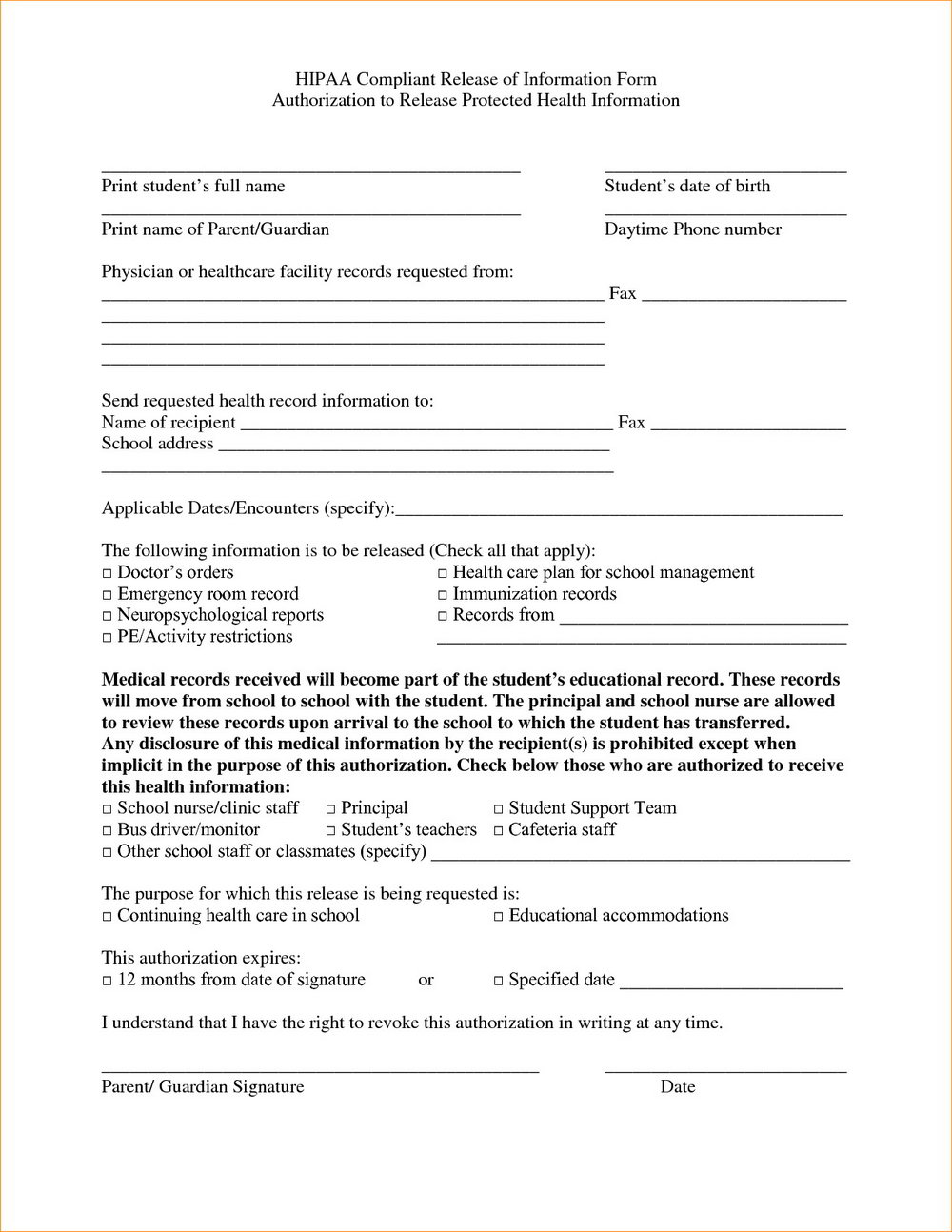 Hipaa Agreement Form Pdf