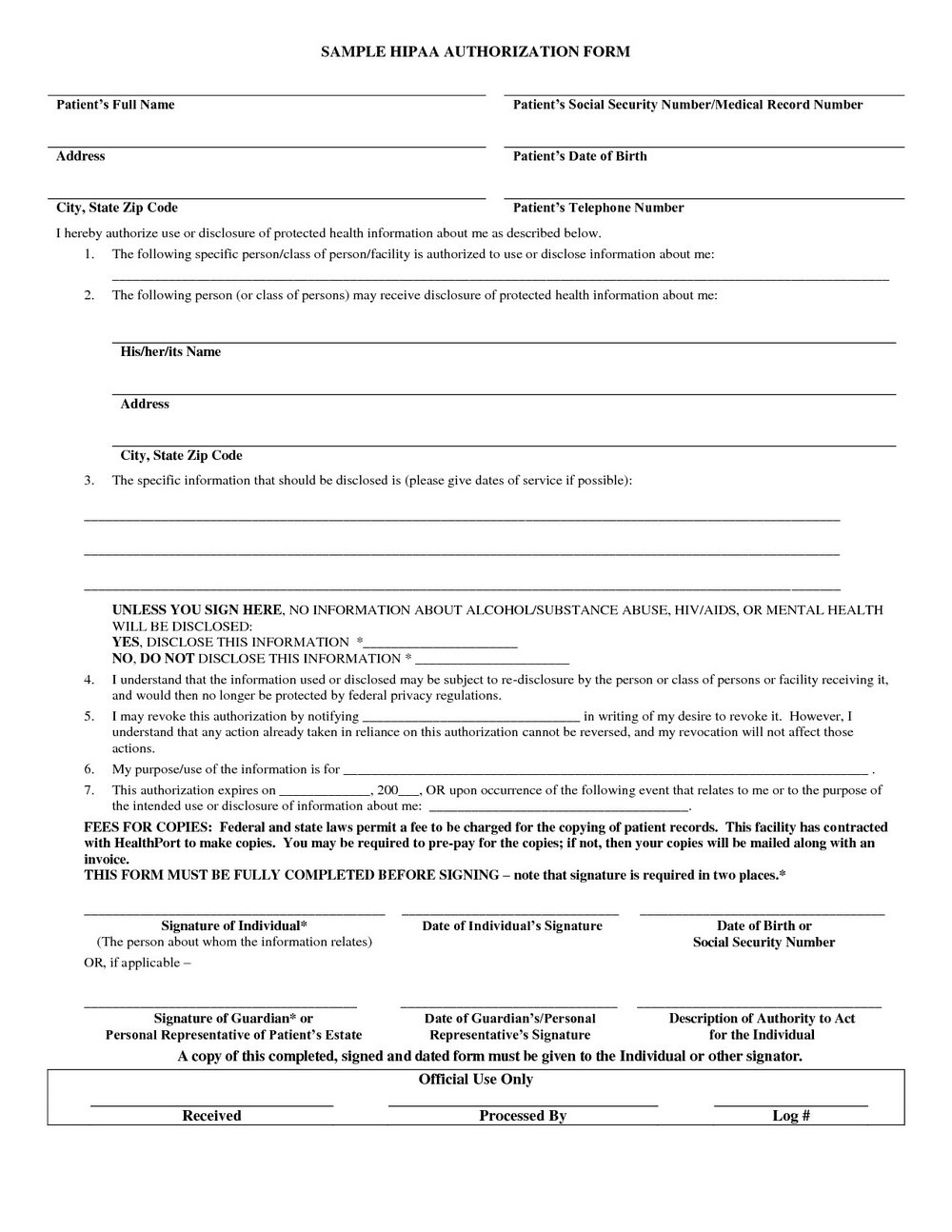 Hipaa Policy Form For Patients