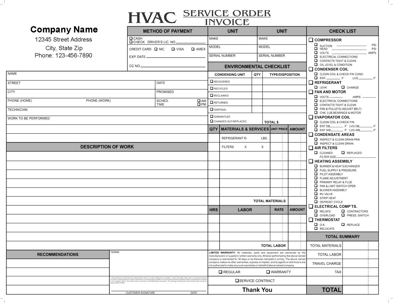 Hvac Forms Templates