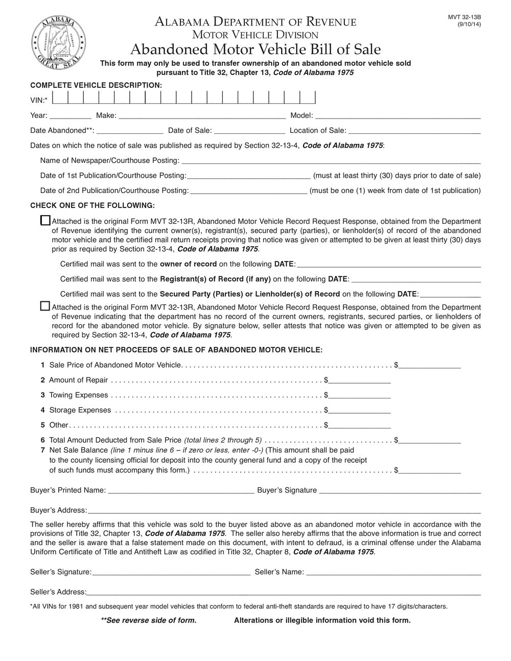 Indiana State Form St 105
