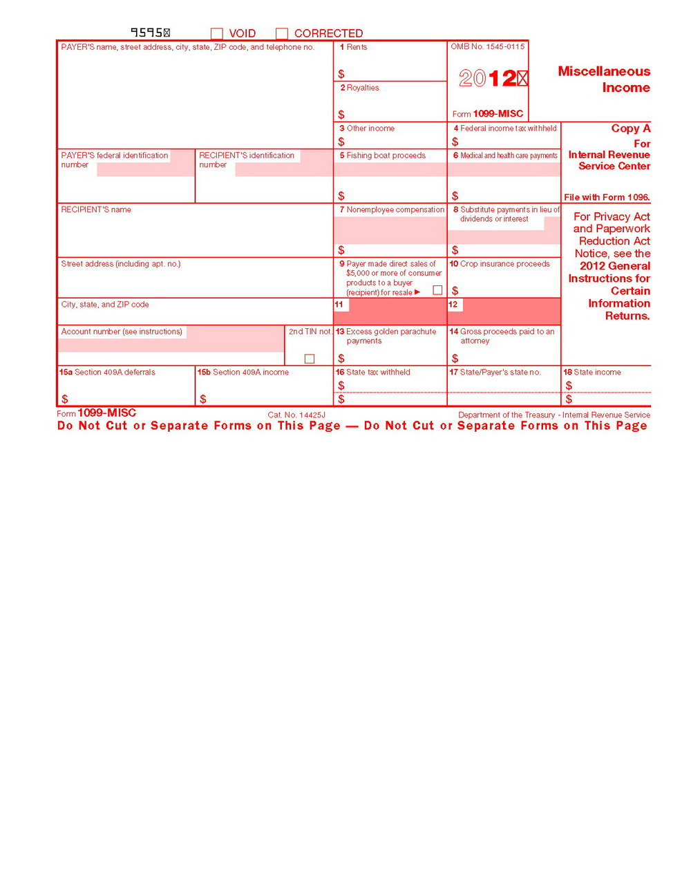 Irs 1099 Misc Forms Printable