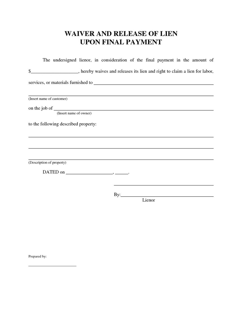 Lien Release Form Oklahoma