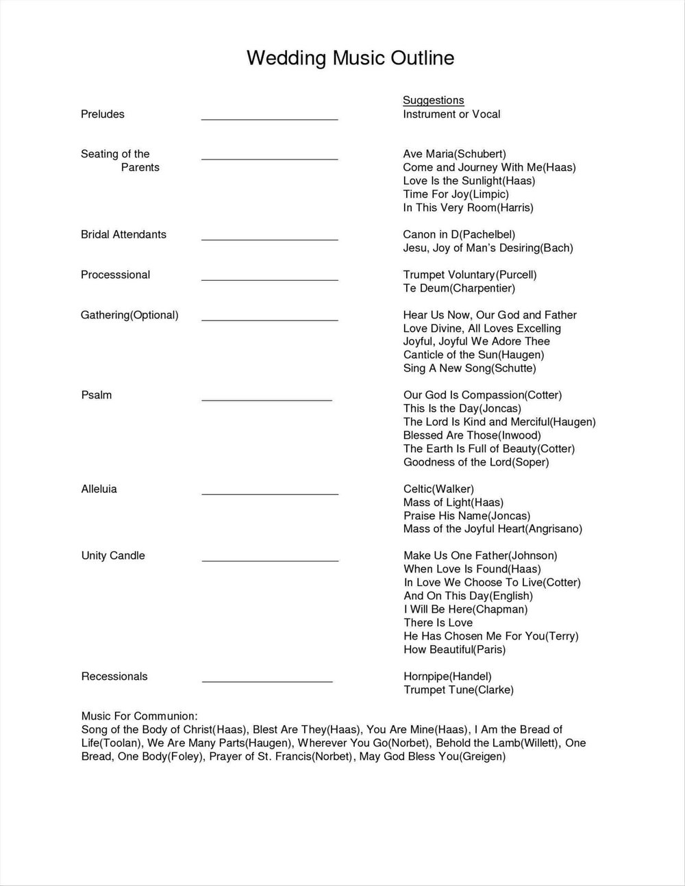 Lutheran Wedding Ceremony Program Template