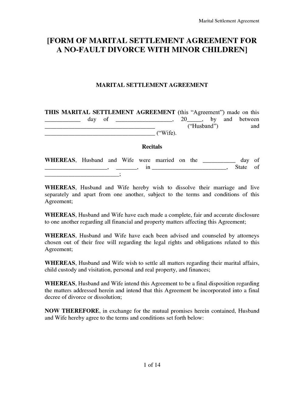 Marital Separation Agreement Form Virginia