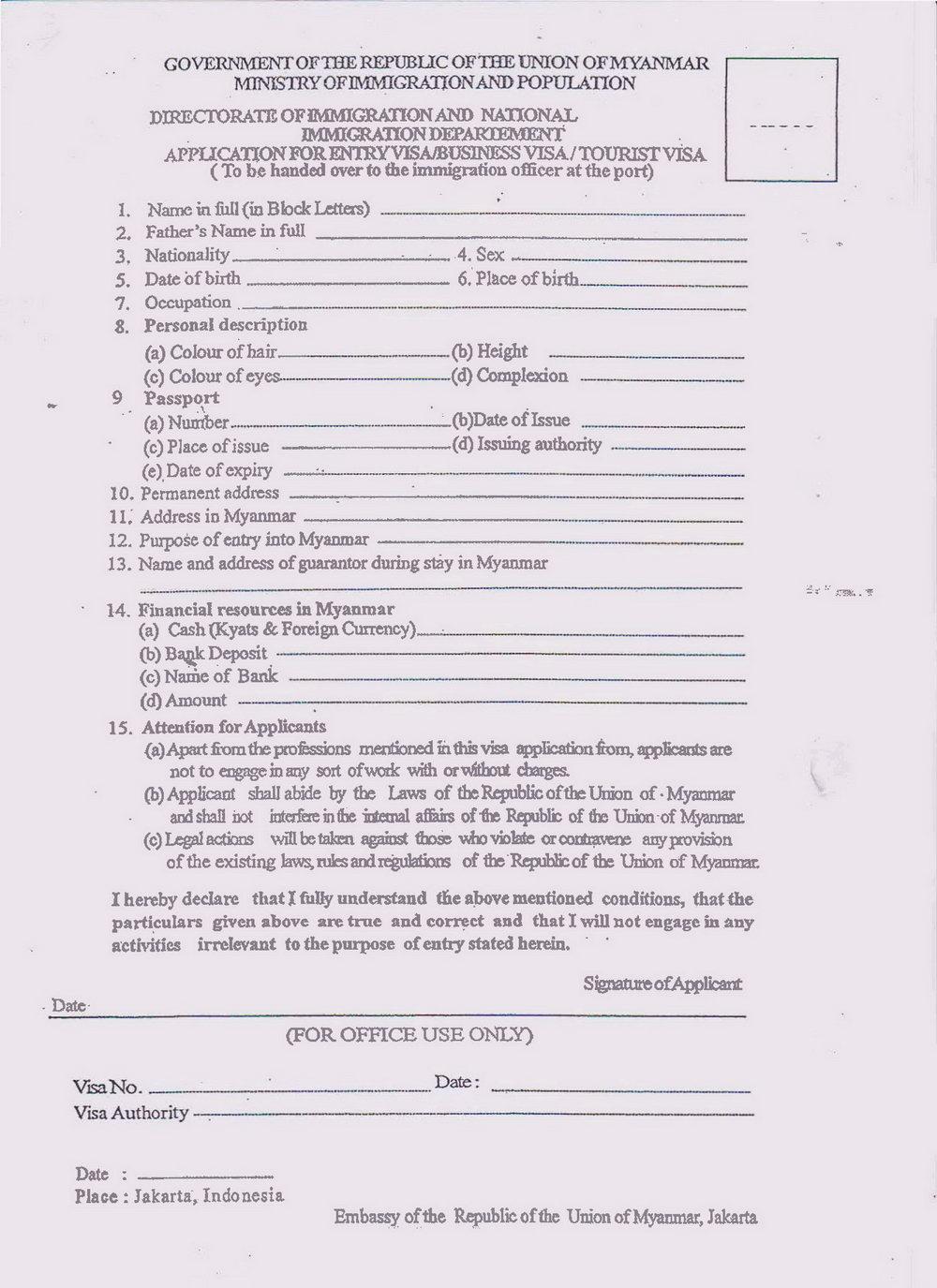 Myanmar Visa Application Form Bangkok Download