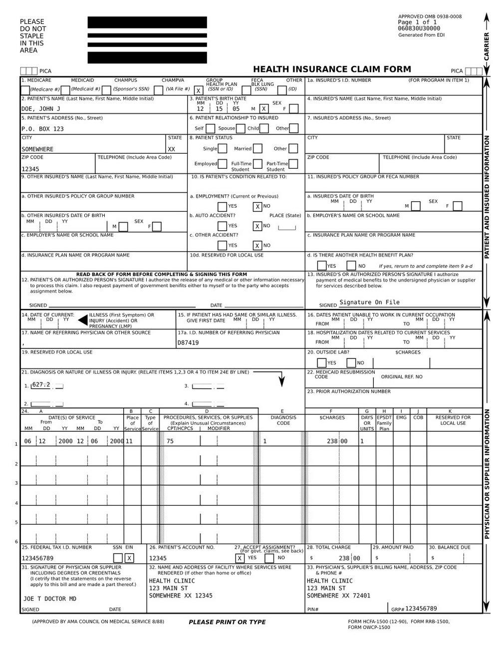 Nucc Org 1500 Claim Form