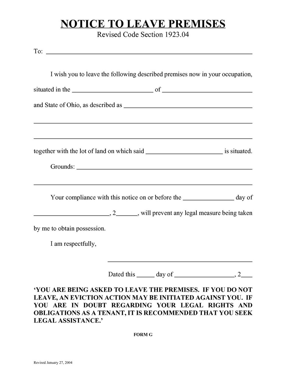 Ohio Eviction Notice Form