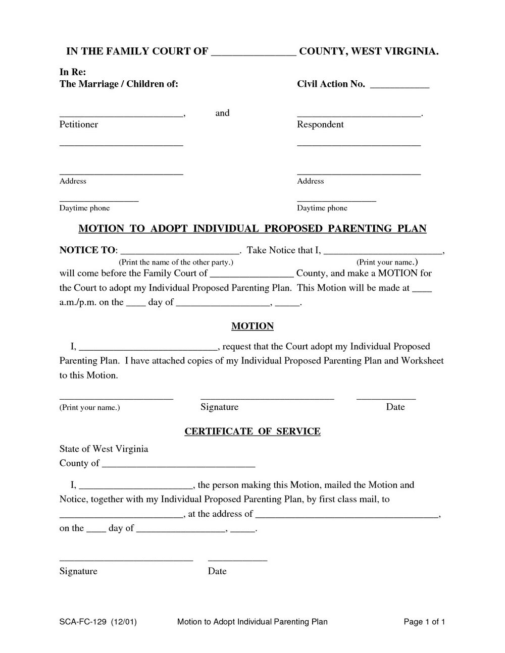 Parenting Agreement Template Free