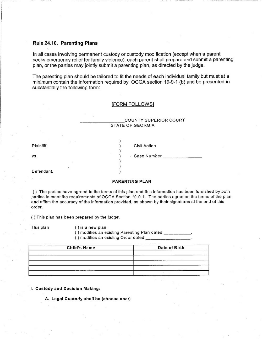 Parenting Agreement Template Nz