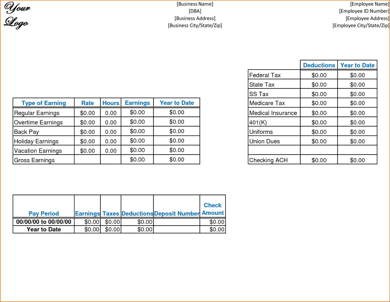 Pay Stub Template Canada Excel