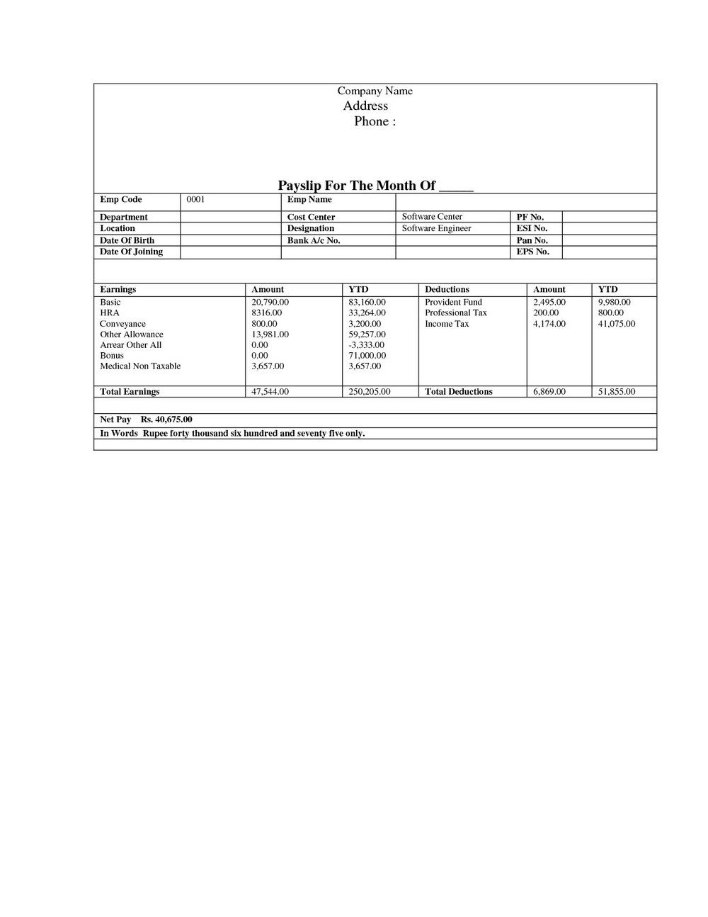 Paycheck Stub Template Word