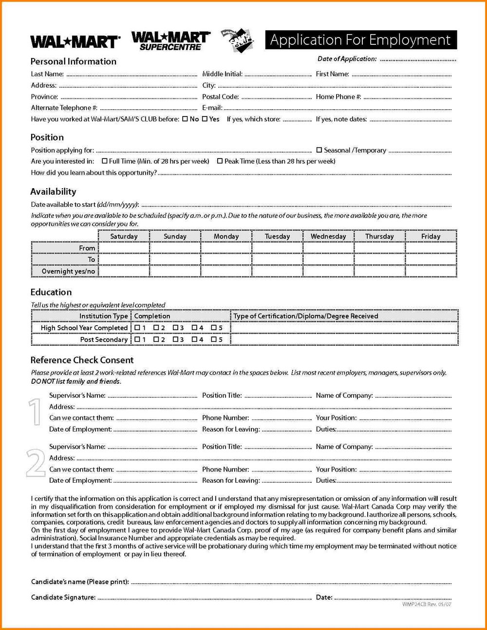 Payless Application Form Print Out