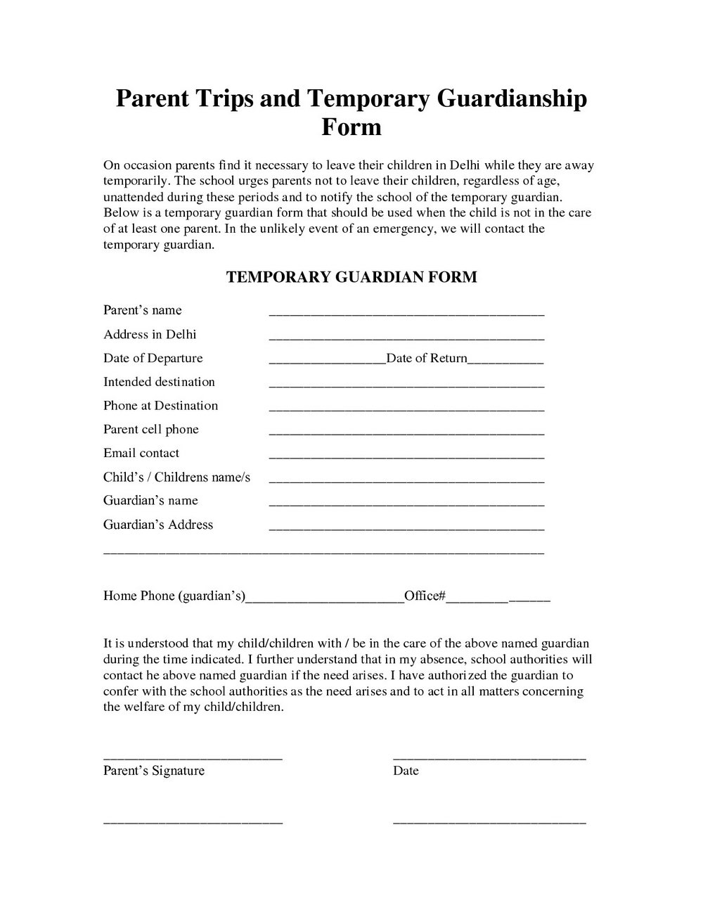 Printable Temporary Guardianship Forms