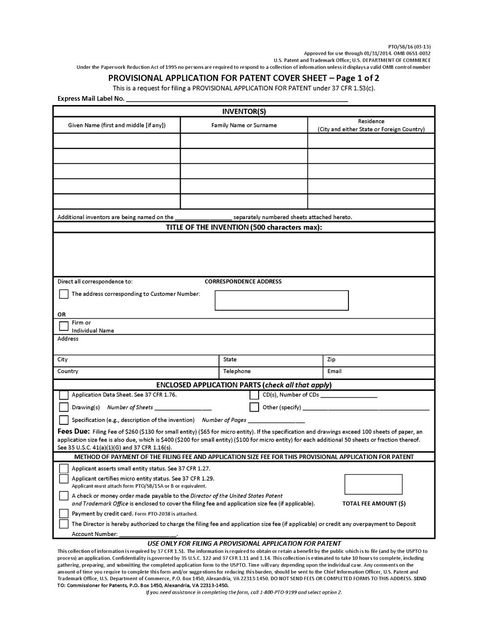 Provisional Patent Form