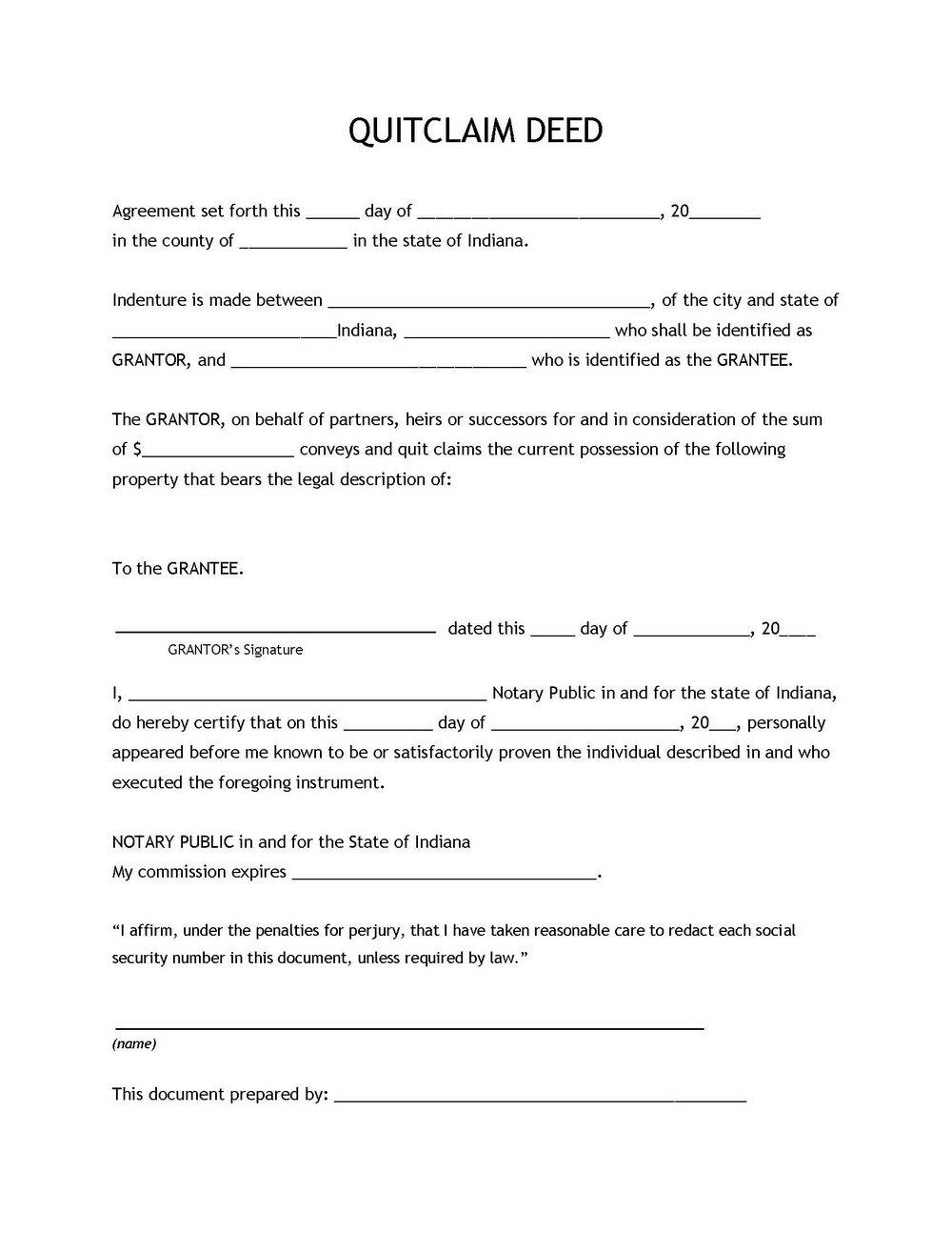 Quit Claim Deed Form Iowa