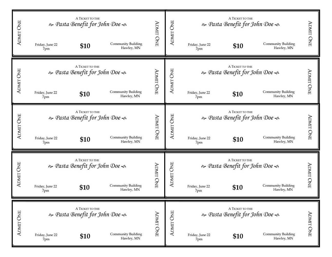 Sample Of Raffle Tickets Templates