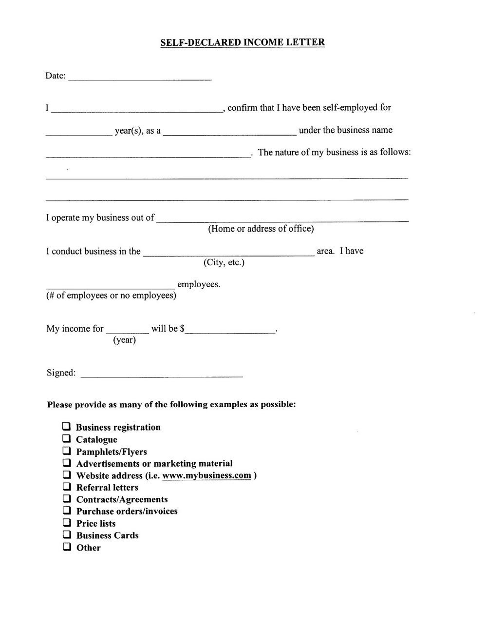 Self Employed Form For Housing Benefit
