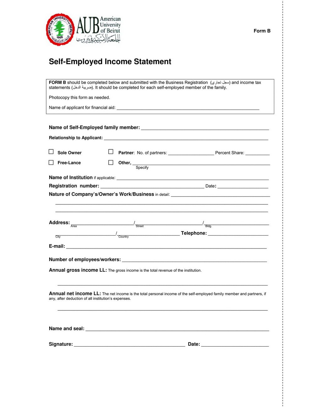 Self Employed Form