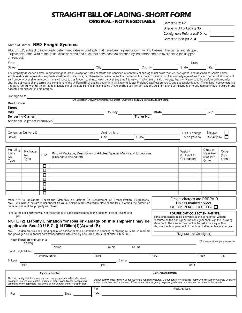 Short Form Bill Of Lading Pdf