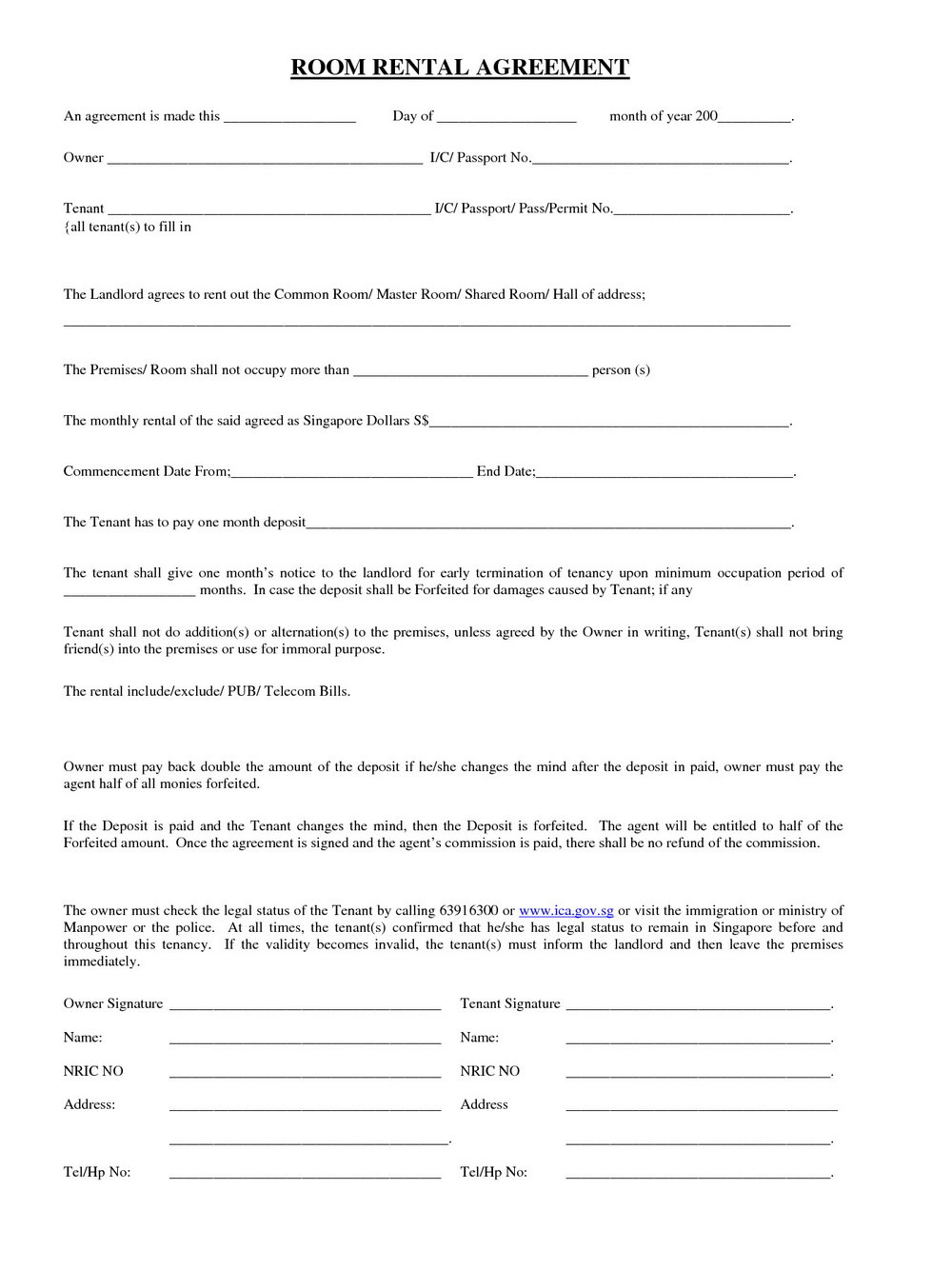 Simple Rent Agreement Format India