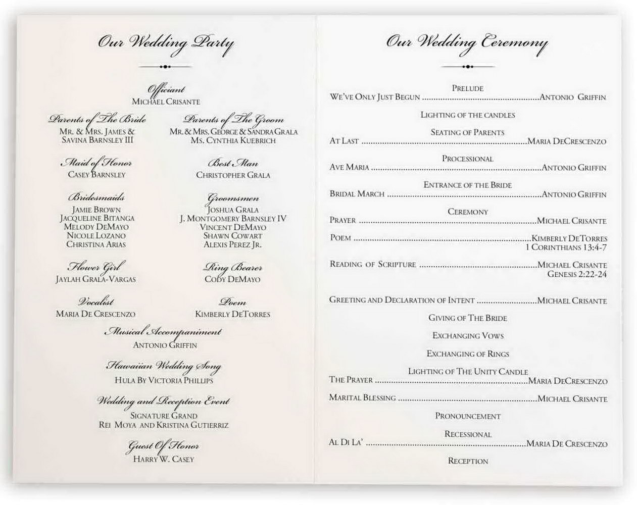 Simple Wedding Ceremony Program Template