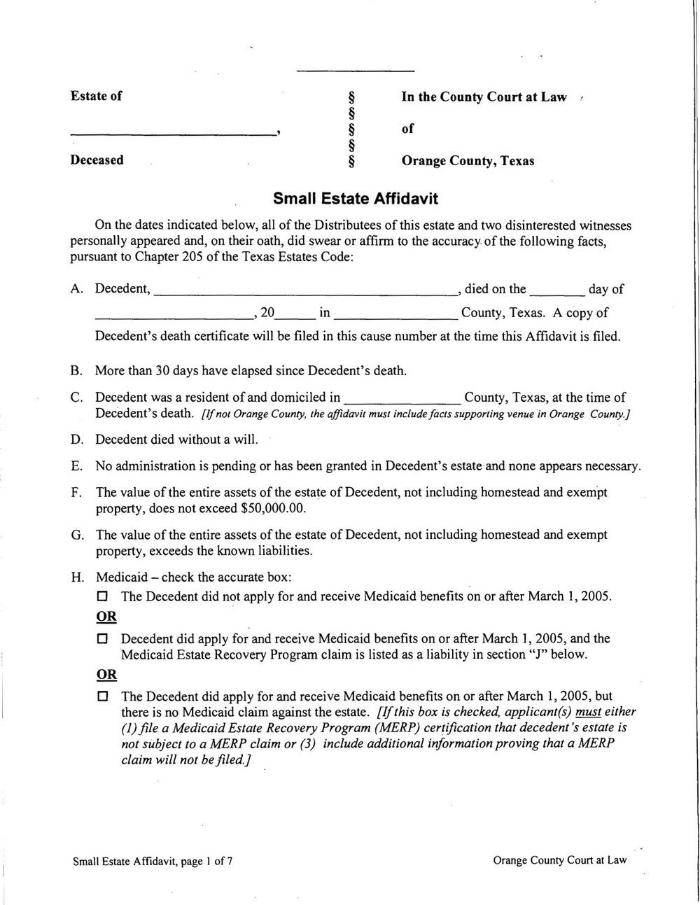 Small Claims Affidavit Form California