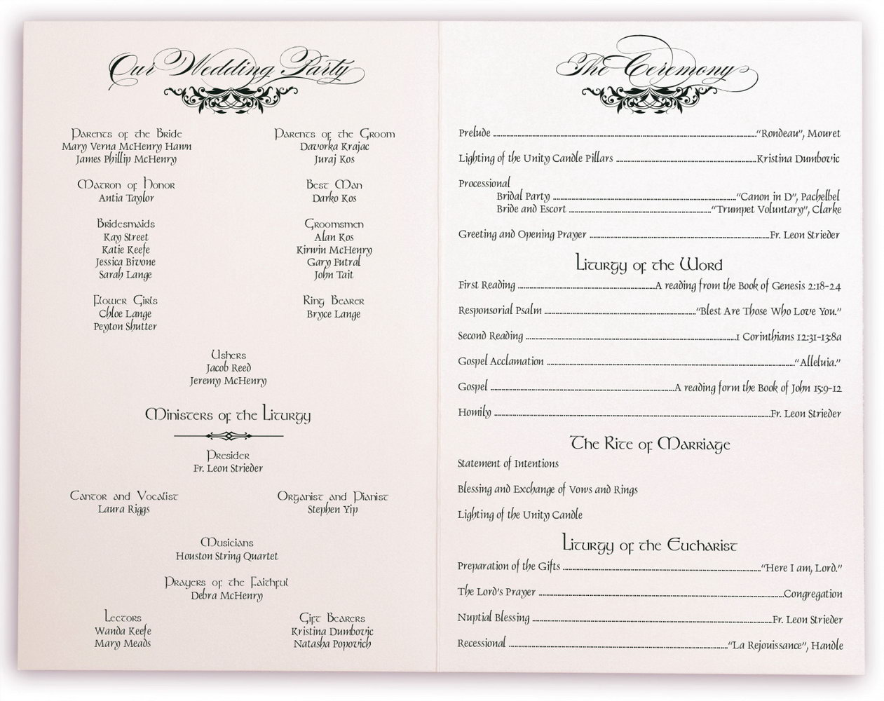 Traditional Wedding Ceremony Program Template