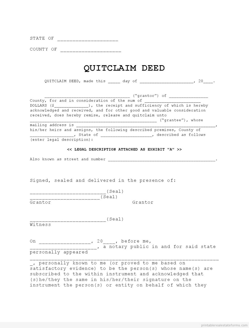 Wisconsin Quit Claim Deed Form Instructions