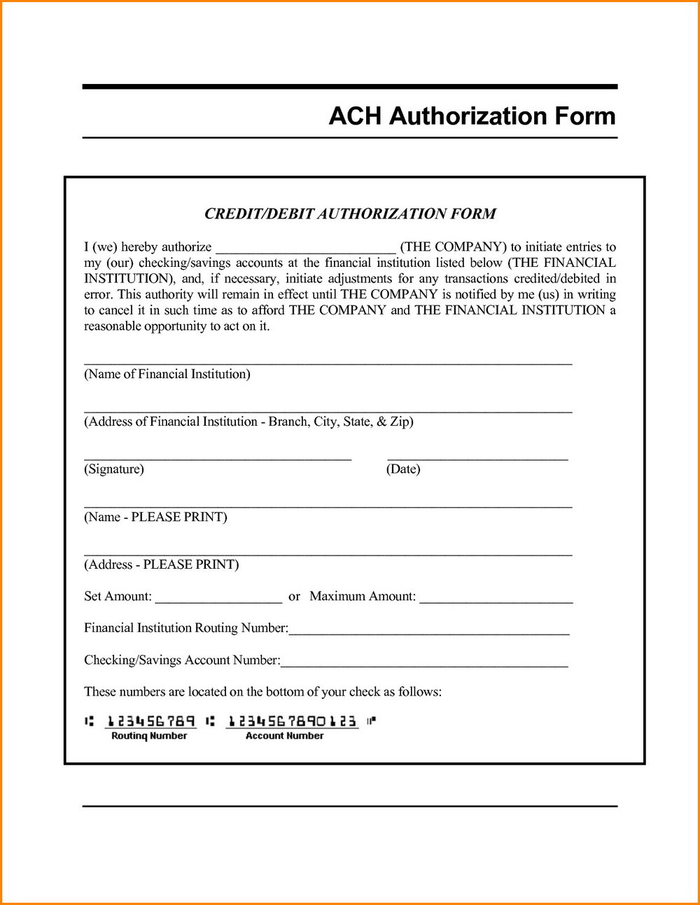 Ach Form Template