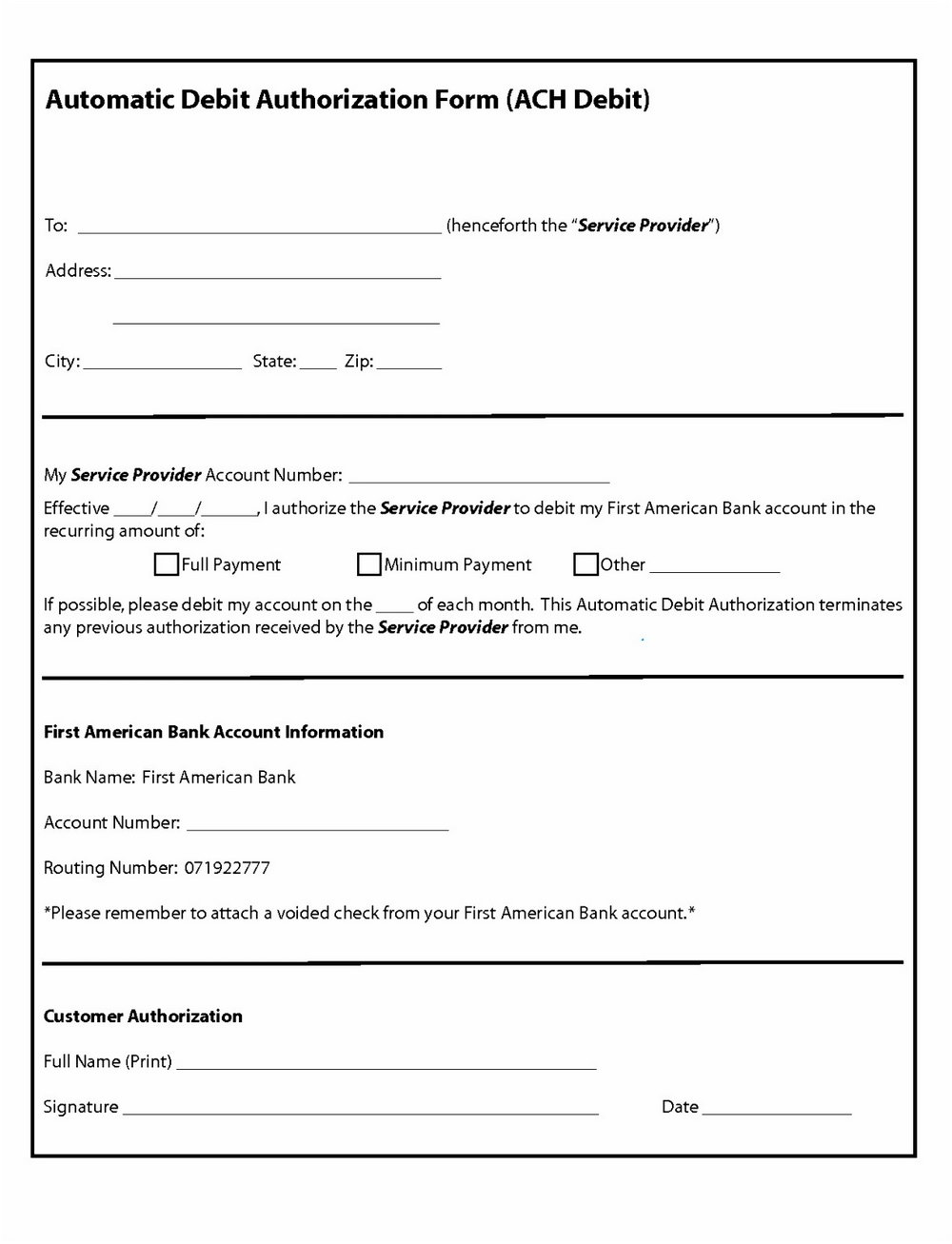 Ach Payment Authorization Form Template