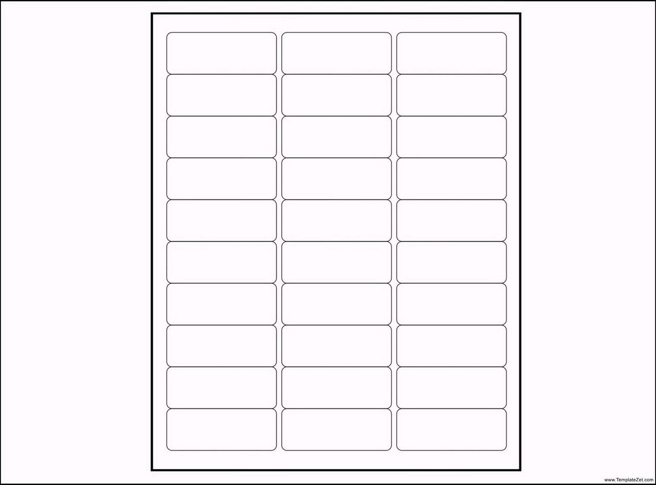 Address Label Templates 30 Per Sheet