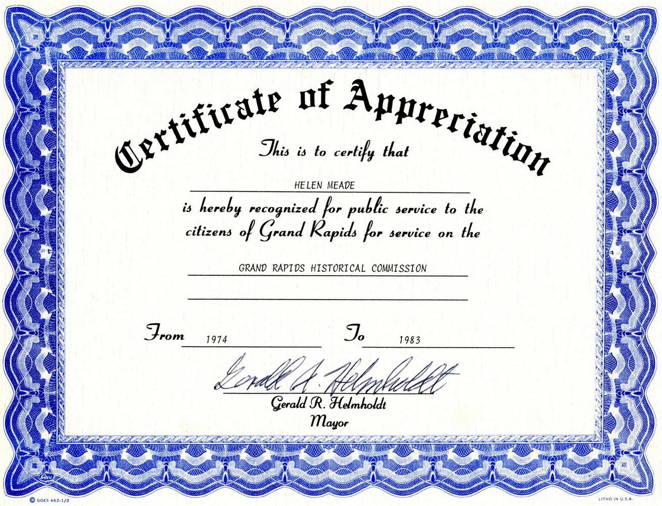 Appreciation Certificate Template Word