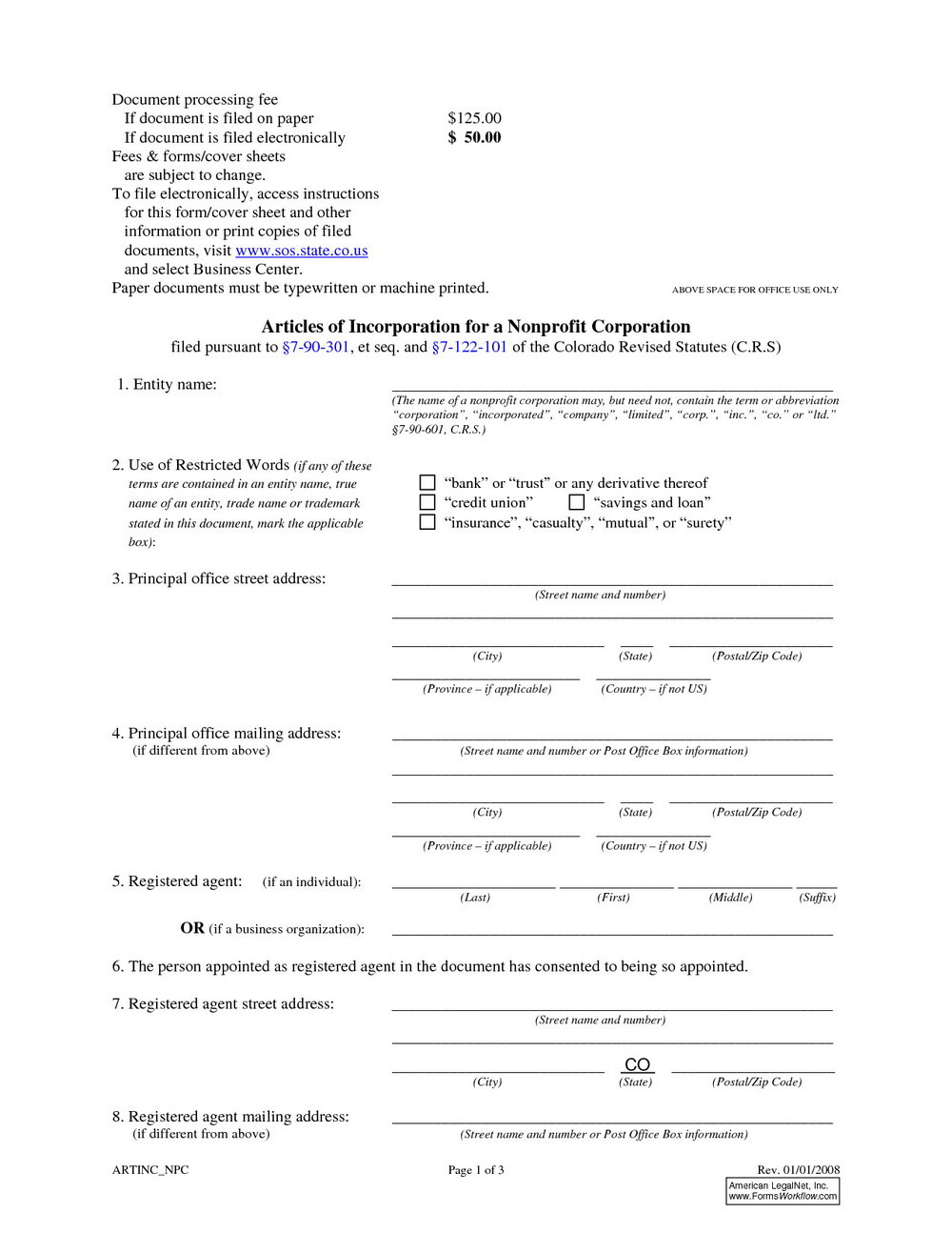 Articles Of Incorporation Washington State Template