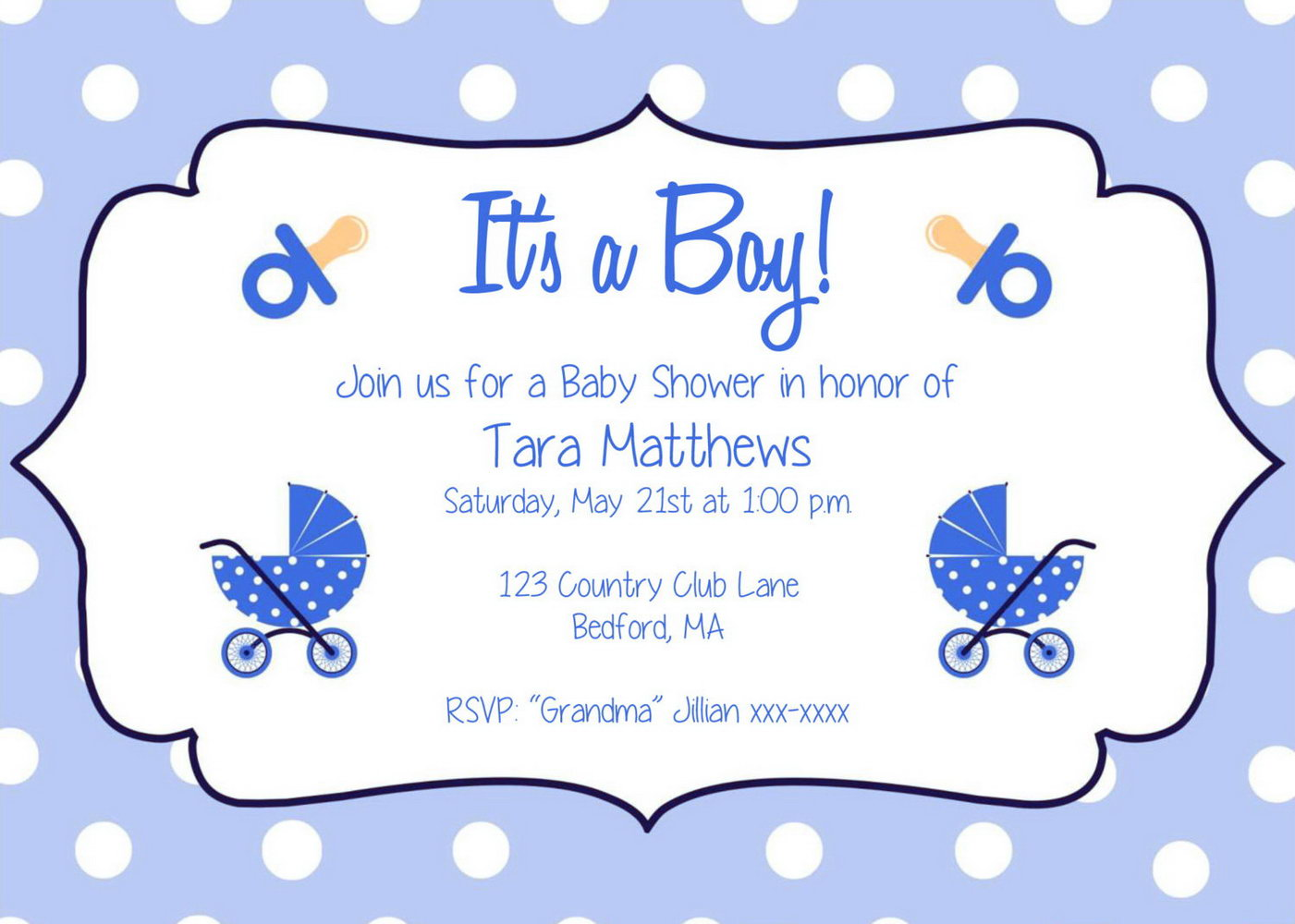 Baby Shower Invitation Templates For A Boy Free