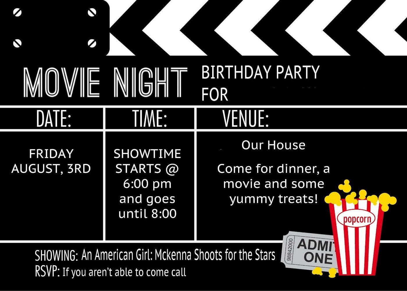 Birthday Party Invitation Templates Movie Theme