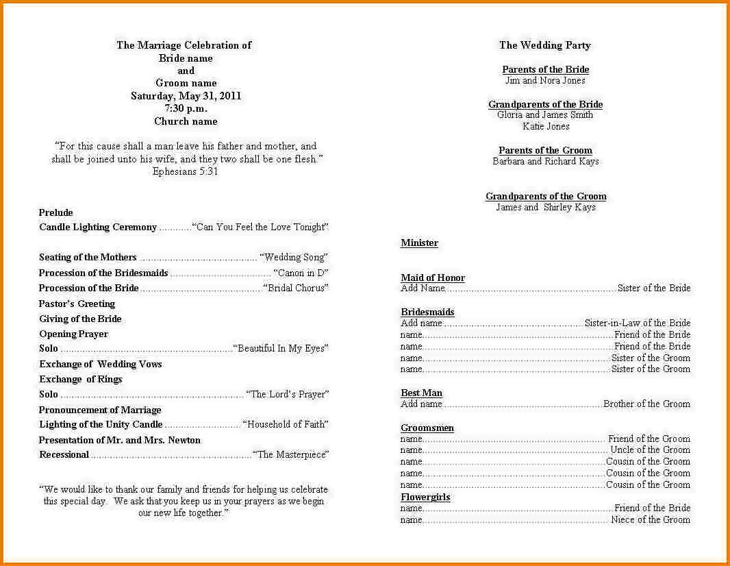 Ceremony Program Template