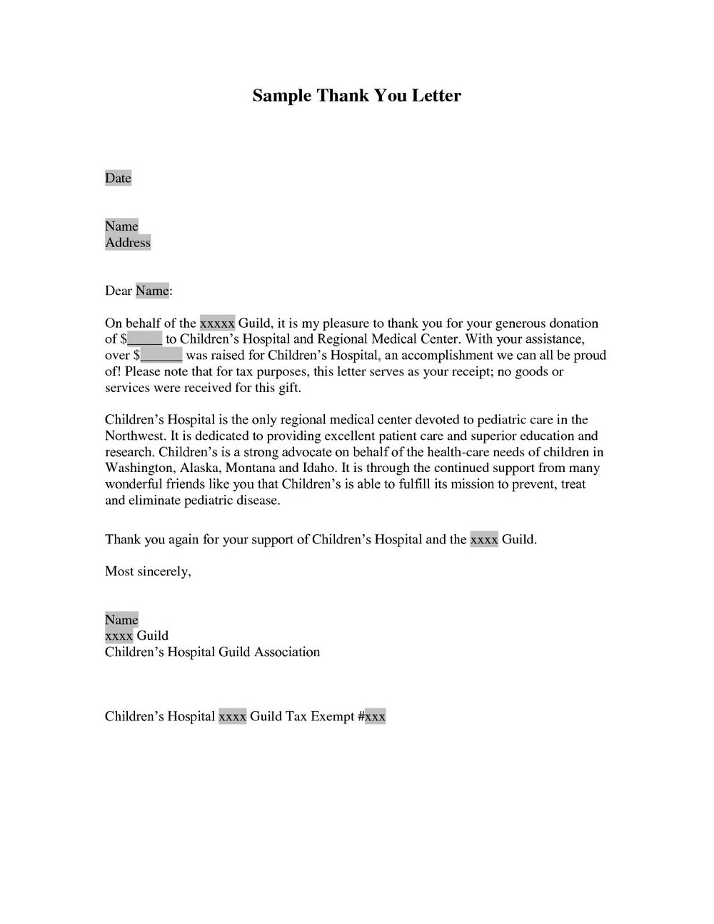 Charitable Donation Thank You Letter Template