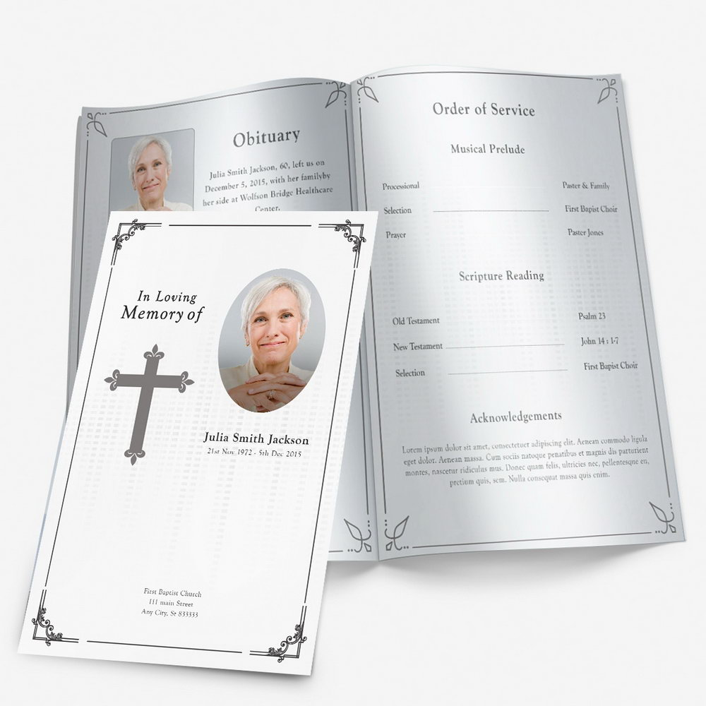 Christian Funeral Program Template Free